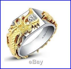 0.25CT Vintage Dragon Ring Real Solid 14K White Gold Diamond Men's Wedding Ring