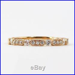 0.25 Ct Round Diamond Wedding Band Ring Vintage Band 10k White Gold
