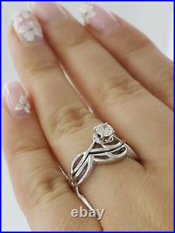 0.34 ct Vintage 14K White Gold Round Cut Wedding Band & Engagement Ring Set