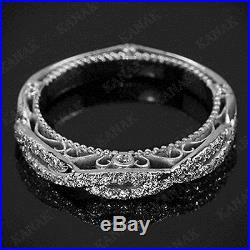 0.35 Ct Diamond 10k White Gold Vintage Wedding Band Ring for Women's