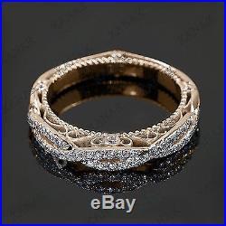 0.50 Ct Diamond 10k Rose Gold Vintage Wedding Band Ring for Women's