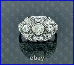 0.50ct Mossianite 3- stone art deco wedding Vintage Reproduction Ring In Silver