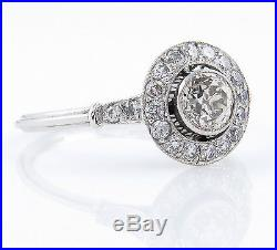 0.76ct Antique Vintage Deco Old Euro Diamond Engagement Wedding Ring Platinum