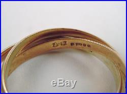 100% Genuine Vintage 9k Yellow White & Rose Gold Russian Wedding Ring Sz 6.5