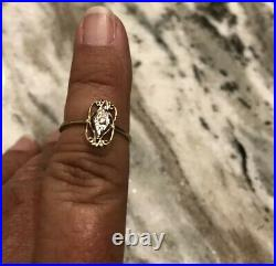 10K Gold Antique Early Victorian Wedding Diamond Ring Size 7 Filigree