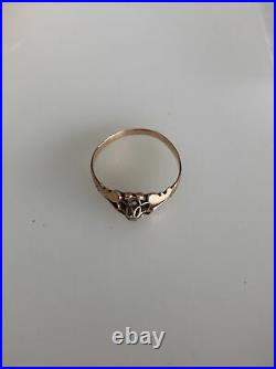 10K Gold Victorian Wedding Ring Jewelry Estate Antique Sz 7 With Diamond