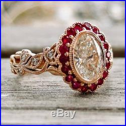 10K Real Rose Gold 2.50Ct Oval Cut Vintage Style Diamond Engagement Wedding Ring