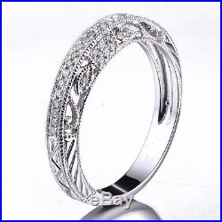 10K White Gold Wedding Diamonds Milgrain Fine Eternity Band Vintage Antique Ring