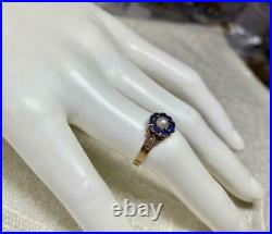 10 Sapphire Pearl Wedding Engagement Ring Gold Victorian Stacking Belle Epoque