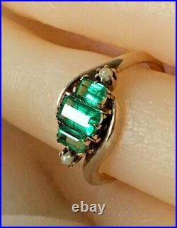 10k Solid Yellow Gold Antique Emerald & Seed Pearl Cocktail Ring Size 4.5