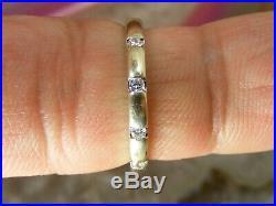 10k Vintage Diamond Simple White Gold Wedding BAND RING Small Sz 5 Estate IKS