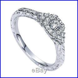 10k White Gold 1.00 Ct Round Cut Vintage Style Engagement Wedding Ring