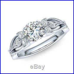 10k White Gold 1.10 Ct Round Cut Diamond Vintage Style Engagement Wedding Ring