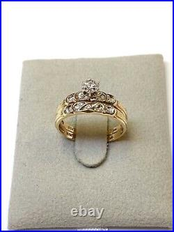 10k Yellow Gold Vintage Wedding Ring Set With Diamonds. Size 6.75