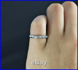 $1150 Vintage Platinum Single Cut Diamond Milgrain Wedding Band Anniversary Ring