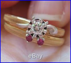 14K ANTIQUE VINTAGE Keepsake ART DECO DIAMOND & RUBY ENGAGEMENT WEDDING RING SET