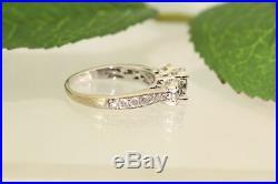 14K Diamond 3 Stone Engagement Ring- White Gold- Vintage, Estate- Wedding Ring
