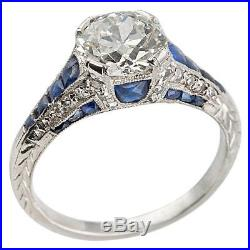 14K Gold Over VIntage Art Deco 2Ct Round & Blue Sapphire Engagement Wedding Ring