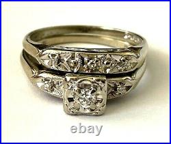 14K Keepsake White Gold Vintage Ladies Diamond 2 Ring Wedding Band Set Size 6