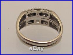 14K Solid White Gold Genuine Diamond 1.34 Carat Vintage Wedding Engagement Ring
