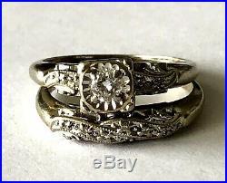 14K Starfire Gold Vintage Ladies Natural Diamond 2 Ring Wedding Band Set Sz 7.75