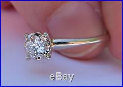 14k Vintage Antique Art Deco Floral Vs Diamond Solitaire Engagement Wedding Ring