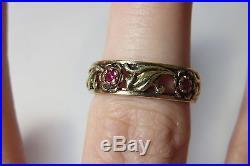 14k Vintage Antique Art Deco Ruby Floral Filigree Wedding Eternity Band Ring