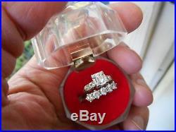 14K WHITE/ GOLD WEDDING RING SET Vintage Diamond Engagement with Appraisal