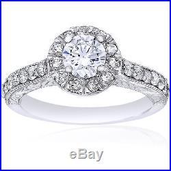 14K White Gold 3/4Ct Vintage Halo Round Real Diamond Engagement Antique Ring