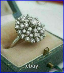 14K White Gold Finish 2.00 Ct Round Diamond Vintage womens Cocktail Cluster Ring