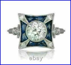 14K White Gold Over 2.5 Ct Diamond Vintage Antique Retro Wedding Art Deco Ring