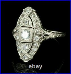 14K White Gold Over 3.6Ct Diamond Perfect Vintage Art Deco Wedding Milgrain Ring