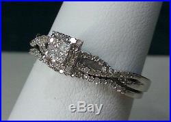 14K White Gold Princess Cut Vintage Diamond Wedding Bridal Set Ring Band