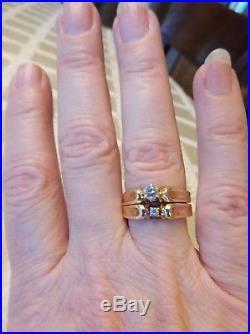 14K YELLOW GOLD VINTAGE. 27ctw DIAMOND ENGAGEMENT WEDDING RING SET Sz 7.75(765)