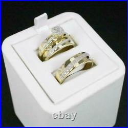 14K Yellow Gold Finish In His/Her 0.63CT Diamond Engagement Bridal Trio Ring Set