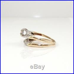14K Yellow Gold VTG 0.25CTW Natural Diamond Wedding Ring Set Size 6 LDI2