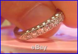 14k Antique Vintage Art Deco 7 Old Cut Diamond Wedding Band Anniversary Ring