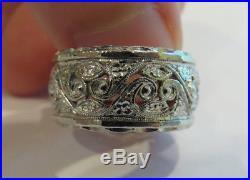 14k Antique Vintage Art Deco Filigree Floral Eternity Wedding Band Wide Ring