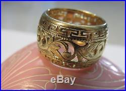 14k Antique Vintage Art Deco Floral Filigree Wedding Eternity Band Wide Ring
