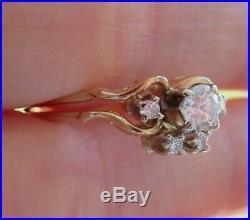 14k Antique Vintage Art Deco Old Cut Vs Diamond Engagement Wedding Ring Band Set