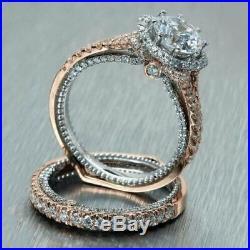 14k Real Two Tone Gold 2.00ct Round Diamond Halo Vintage Engagement Wedding Ring