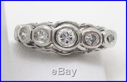 14k Vintage Art Deco Antique Diamond Hand Made Wedding White Gold Band Ring