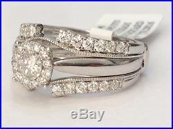 14k White Gold Bridal Wedding Halo Style Diamonds Set Ring Vintage with Enhancer