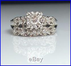 14k White Gold Diamond Wedding Engagement Ring Set Vintage Estate