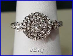 14k White Gold Diamond Wedding Ladies Engagement Round Double Halo Vintage Ring