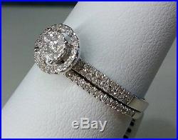 14k White Gold Double Halo Vintage Round Diamond Wedding Bridal Set Ring Band