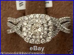 14k White Gold Halo Antique Vintage Princess Cut Diamond Bridal Set Ring 0.95ct