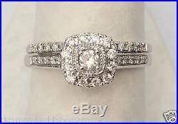 14k White Gold Halo Vintage Round Cut Diamond Engagement Bridal Wedding Ring Set