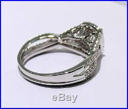 14k White Gold Princess Cut Double Halo Bridal Set Engagement Ring Vintage 3/4ct