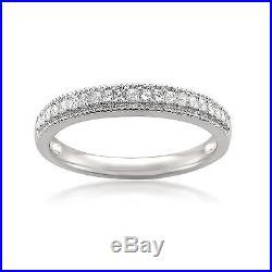 14k White Gold Princess-cut Diamond Milgrain Vintage Bridal Wedding Band Ring 9